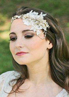Grecian Headpiece, Leaf Headpiece, Bridal Tiara, Bridal Headpieces, -GUINEVERE. $239.00, via Etsy.