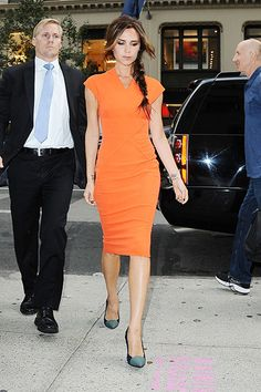 Fashion designer Victoria Beckam shows off her style as she steps out for Fashion Night Out in New York City