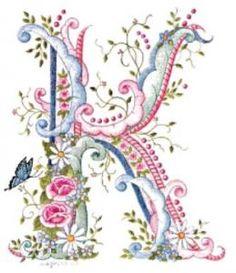 pink blue flower letter K Embroidery Alphabet, Ribbon Embroidery, Embroidery Designs, Fancy Letters, Floral Letters, Graphic 45, Decoupage, Letter K, Calligraphy Alphabet