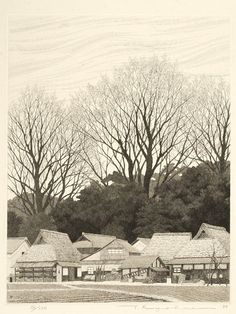 Ryohei Tanaka | Village on East Side of Lake 1988 (etching)