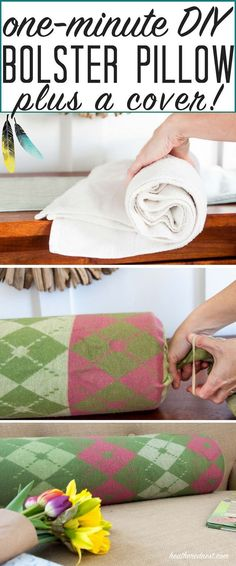 DIY Bolster Pillow Cover + One Minute Pillow Tutorial. No Sew ... & DIY Bolster Pillow Cover + One Minute Pillow Tutorial | Sewing diy ... pillowsntoast.com