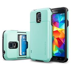 Galaxy S5 Case, Spigen® [Card Holder] Samsung Galaxy S5 Case [Armor] [Slim Armor Card Slider CS Mint] Slim Fit Dual Layer Protective with Slide Card Holder Back Plate Wallet Case for Galaxy S5 / Galaxy SV (2014) - CS Mint (SGP10984), http://www.amazon.com/dp/B00JW672JU/ref=cm_sw_r_pi_awdl_pov6ub0XC42PX