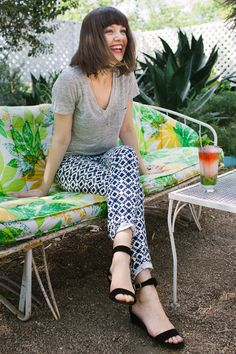 Pulling It Off: Printed Pants. aka Party Pants! | Grown-up Shoes for Camille Styles | photos by Wynn Myers