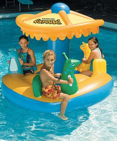 Bring the carnival to the pool with this inflatable carousel. Designed to fit three swimmers at once and featuring adorable animal seats and a protective sun shade, it's the perfect place to engage in active aquatic adventures. 65'' W x 54'' H x 53'' DPVCRecommended for ages 4 years and up