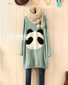 I found 'Panda Embellished Bat-wing Sleeve Sweater Pea Green' on Wish, check it out!