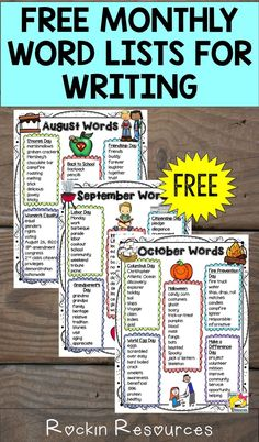 August Word List Start of your school year with 3 Free Monthly Word Lists awesome for writing poetry and stories in your classroom and centers! They are theme-based. Paragraph Writing, Narrative Writing, Persuasive Writing, Essay Writer, Kindergarten Writing, Teaching Writing, Teaching Ideas, Teaching Tools, Teaching Resources