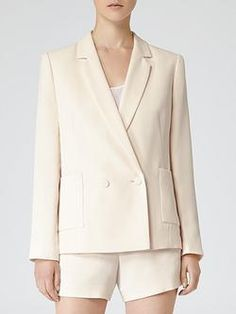 this is TOO SHORT.  WEAR double breasted OPEN.  otherwise, relaxed double breasted jacket is recommended.   upper thigh on down for length.  textured would be even better.