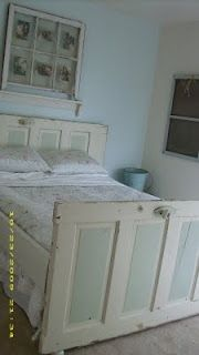 Headboard and footboard made from repurposed doors