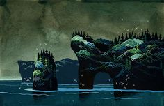 Illustrations of mossy green islands that will stir your imagination.