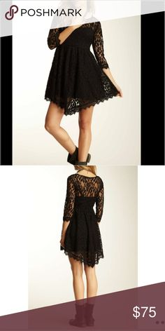 "f r e e p e o p l e lace dress 👗 Stunning black lace dress from free people. Scoopneck and laced sleeves. 34"" in full length & there is a side zip. 70% cotton, 30% nylon. Free People Dresses Long Sleeve"