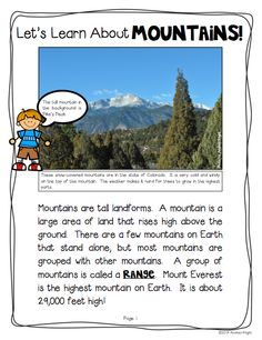 "Sample nonfiction article from ""Learning About Landforms"" {Supplemental Materials for Grades 1-2} Twelve different landforms are featured in the set. 46 pages, $"
