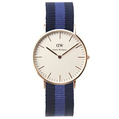 Four Daniel Wellington watches with striped fabric Nato straps are now available from Dezeen Watch Store #design