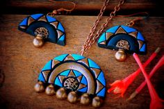 Sea blue and gold terracotta pendant and by Mithicotta on Etsy