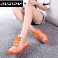 JIANBUDAN botas de Chuva, mulheres com botas curtas, os novos 2016 botas à prova d' água transparente, ms antiderrapante botas de borracha