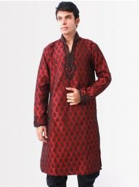 #Bodyline #Men Maroon Embroidery #Kurta
