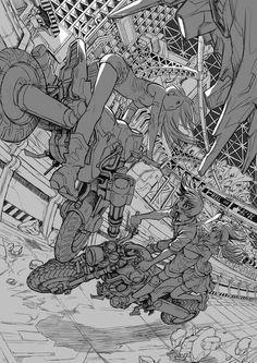Goes on the wheel like a ramp Drawing Reference Poses, Drawing Poses, Drawing Sketches, Art Reference, Art Drawings, Tattoo Drawings, Boichi Manga, Comic Books Art, Comic Art