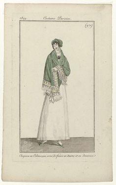 Anonymous | Journal des Dames et des Modes, Costume Parisien, 25 avril 1809, (971): Chapeau en Colimaçon..., Anonymous, Pierre de la Mésangère, 1809 | Vrouw, lopend naar rechts, met op het hoofd een 'chapeau en Colimaçon', aan de boven- en onderkant versierd met bloemen. Om de schouders een groene sjaal, afgezet met franjes. Witte uitlopende rok. Verdere accessoires: bloemcorsage, zakdoek, platte schoenen met strikken. De prent maakt deel uit van het modetijdschrift Journal des Dames et des…