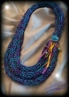 Πλεκτό κολιέ νε βελονάκι σιέλ -μωβ  Chroset necklace Χειροποίητα κοσμήματα Beaded Necklace, Necklaces, Jewelry, Fashion, Jewellery Making, Moda, Pearl Necklace, Jewels, Fashion Styles