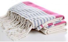 Organic Cotton Beach Towel Fushia and Grey