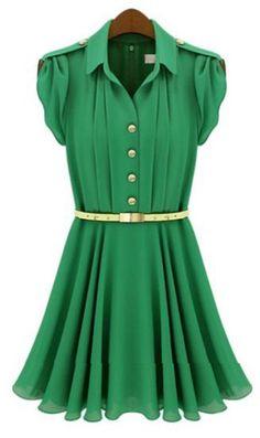 Green Lapel Buttons Bandeau Pleated Chiffon Dress