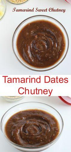 Tamarind Dates Chutney Recipe Tamarind Chutney And Pickles Sweet Chutney Recipe, Chutney Recipes, Sauce Recipes, Indian Snacks, Indian Food Recipes, Tamarind Date Chutney, Tamarind Recipes, Good Food, Yummy Food