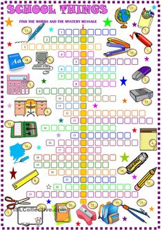 School things: crossword puzzle with key: ESL printable worksheet of the day on August 28, 2015 by sylviepieddaignel