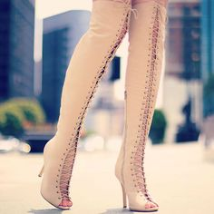 Woven Lace Up Thigh High Boot