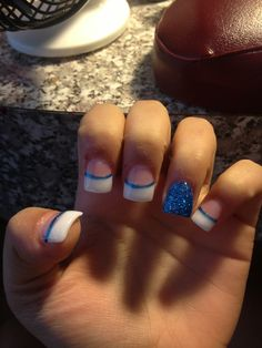 Blue and white nails! Love them!