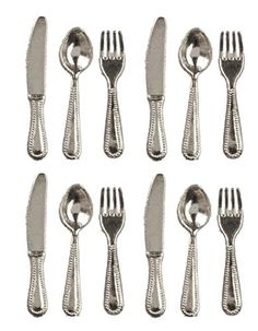 Dollhouse Décor - Dollhouse Miniature Set of Silverware Cutlery or Flatware for 4 *** You can get more details by clicking on the image.