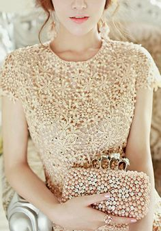 Pearls Crochet Dress @LookBookStore