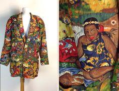 Vintage Print Blazer Mens 80s Jacket Anne Pinkerton APE Unisex