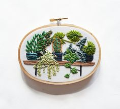 Oval Potted Jungle Modern Hand Embroidery Hoop Art