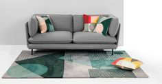 Axle Printed Circle Cushion 45 x 45cm, Green Multi | made.com