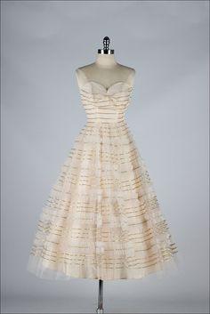 1950's Metallic Trim Strapless Dress