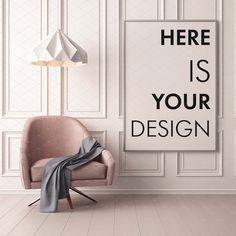 Mockups Poster im Innenraum von auf Creative Market - Mock up - Design Interior Paint, Interior Design, Interior Door, Hipster Home, Dark Blue Walls, Hipster Design, Decoration Bedroom, French Interior, Nordic Interior