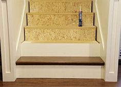 Re-making construction grade stairs with false tread and riser kit