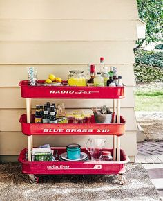 The red radio flyer might just be the most nostalgic toy of all time. The simple shape and trademark hue also make it a great candidate for a little creative reinvention. This outdoor-friendly bar cart would be the perfect accompaniment to a down-home backyard fete. Don't forget the spiked Arnold Palmers and sweet tea!