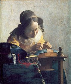 Image illustrative de l'article La Dentellière (Vermeer)La Dentellière (De kantwerkster) est un tableau de Johannes Vermeer peint entre 1669 et 1671, exposé au musée du Louvre à Paris (huile sur toile, 24,5 × 21 cm). Le tableau représente une dentellière absorbée par son ouvrage. La jeune fille se détache sur un mur blanc, probablement parce que l'artiste a cherché à éliminer toutes les distractions autour de l'image centrale.