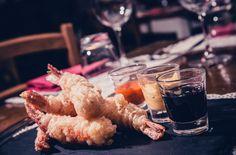 "Gamberoni in tempura con ""scarpette varie""  #osteriamavi"