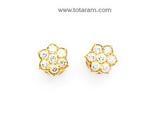 Diamond Earrings for Women in 18K Gold with White Rose Gold Polish