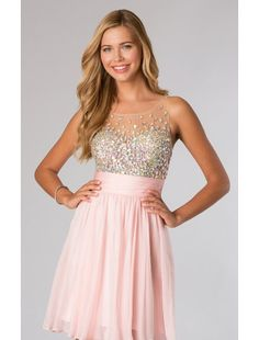 Hot sell A line Scoop Neckline Chiffon and Beading Homecoming Dress