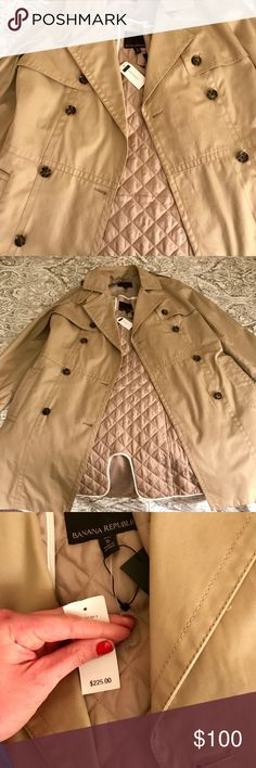 Banana Republic Brand New Trench Coat Brand new Banana Republic trench coat - never worn! Got it as a gift and doesn't fit me just right. Has a quilted layer inside for warmth. Great as a gift or for yourself! Will take offers other than listing price :) Banana Republic Jackets & Coats Trench Coats