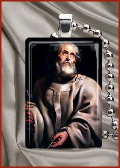 Saint Peter Catholic Saint Glass Tile Necklace