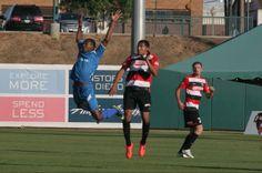 LA Misioneros FC striker Saeed Robinson playing fair against the Fresno Fuego in the season opener
