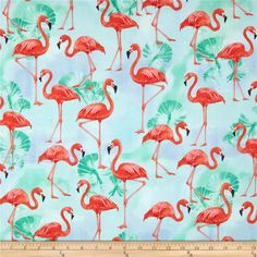 Kaufman Flamingo Paradise Flamingos Water from @fabricdotcom  Designed by Lynnea Washburn for Robert Kaufman, this cotton print is perfect for quilting, apparel and home decor accents. Colors include black, red, orange, brown, white, shades of green, shades of pink, and shades of blue.