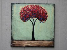 Red Tree original acrylic painting on canvas by DanlyesPaintings