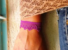 Purpel Floral Floral Bracelet Floral Lace by FashionAndScarves Lace Bracelet, Bracelets, Lace Jewelry, Embroidered Lace, Floral Lace, Handmade, Shopping, Fashion, Bangles