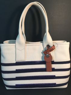 M0007857 Marc By Marc Jacobs Canvas Summer Tote Ecru Blue NEW #MarcbyMarcJacobs #TotesShoppers