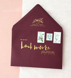 Romantic Burgundy and Gold Foil Wedding Invitations with Floral Envelope Liner by Charm and Fig