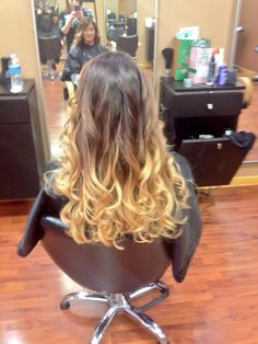 Back view of Nicole's ombré, balayage  done with scruples